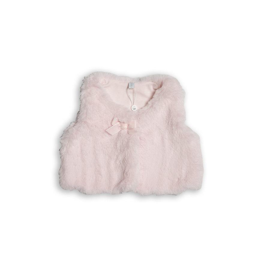 faux fur vestje met strikje - roze-1