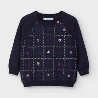 trui met borduur - donkerblauw