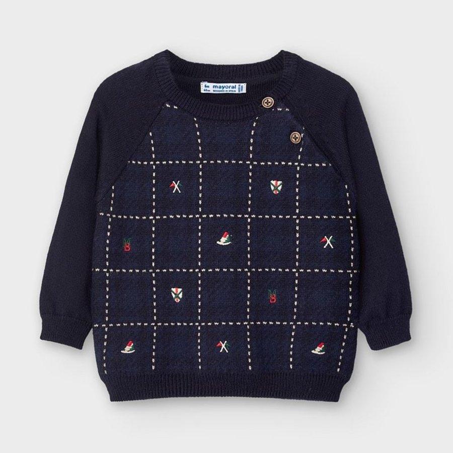 trui met borduur - donkerblauw-1