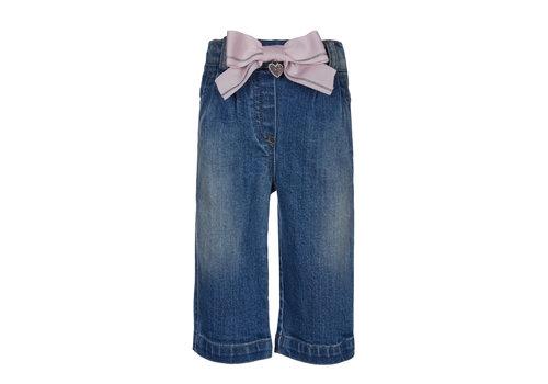 Lapin House spijkerbroekje met roze strik - blauw