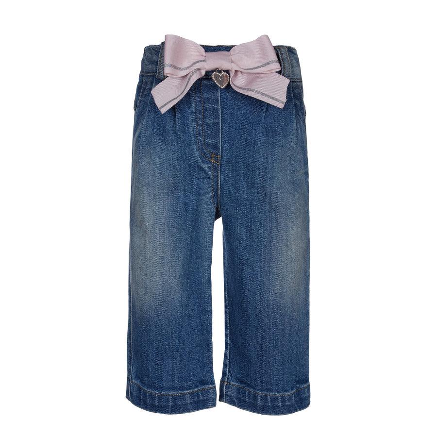 spijkerbroekje met roze strik - blauw-1