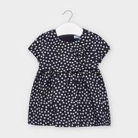 thumb-jurk met stippen en strik - donkerblauw-1
