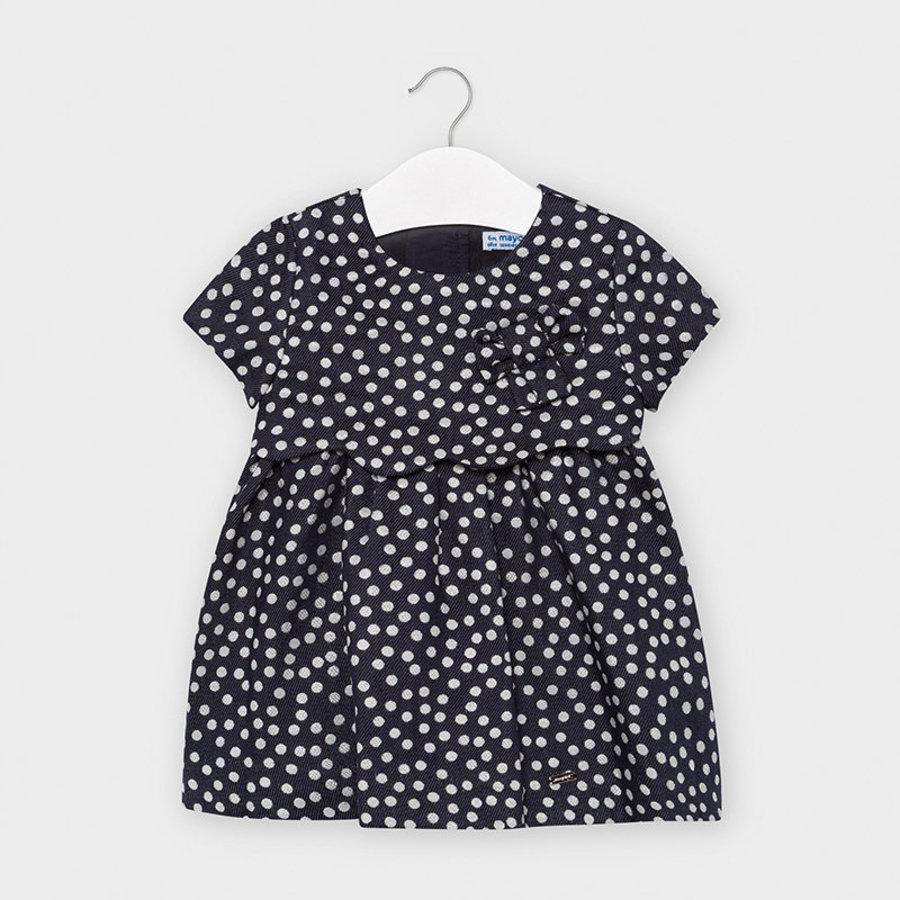 jurk met stippen en strik - donkerblauw-1