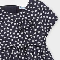thumb-jurk met stippen en strik - donkerblauw-3