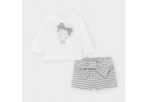 Mayoral set van top en broekje met strik - grijs