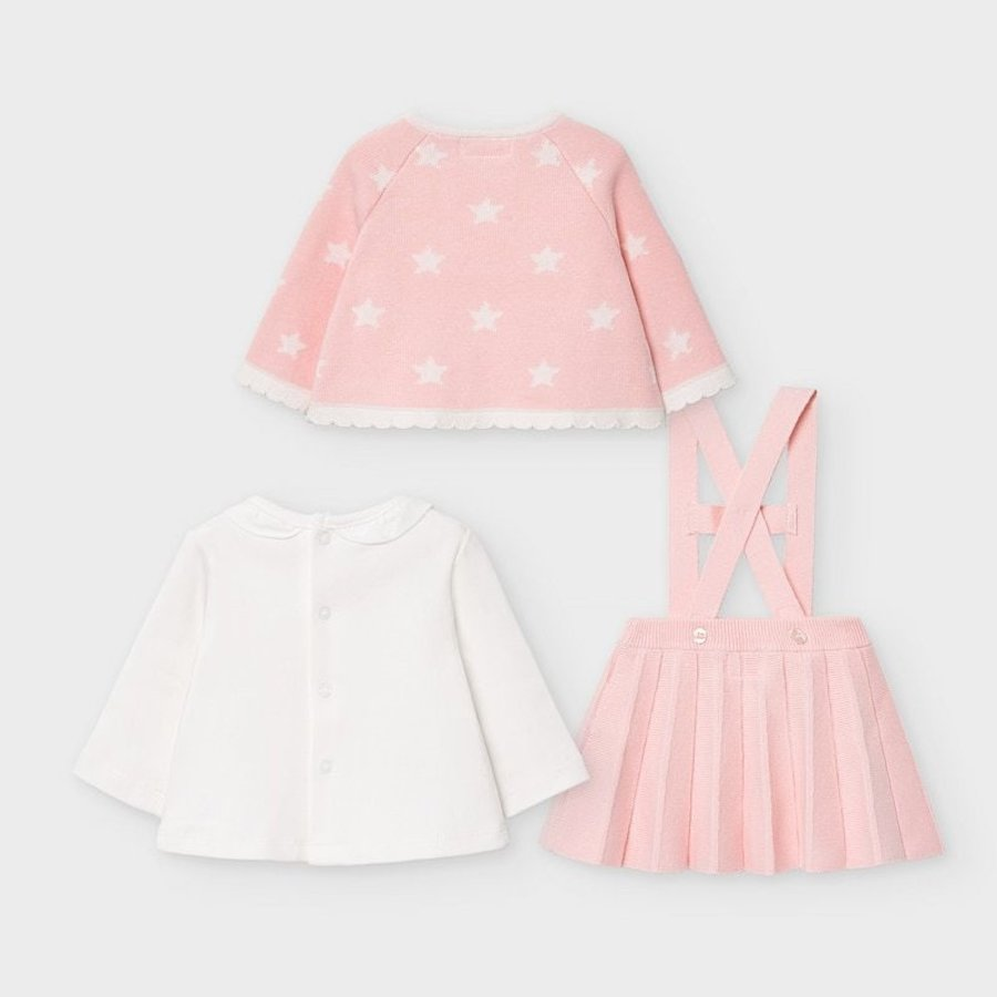 set van top, rokje en vestje - roze-4