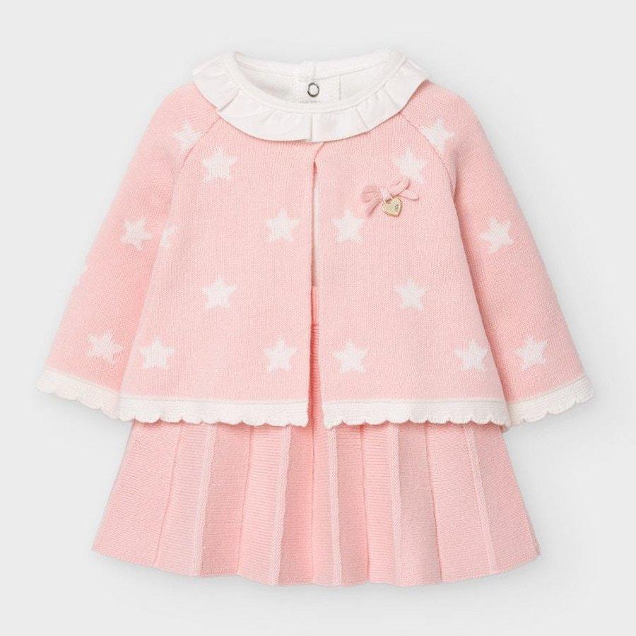 set van top, rokje en vestje - roze-1