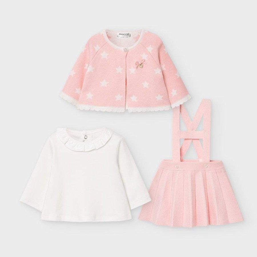 set van top, rokje en vestje - roze-2
