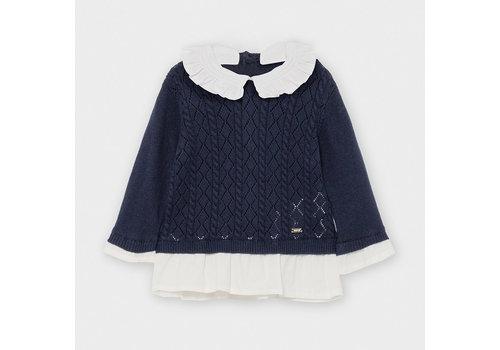 Mayoral trui met kraagje - donkerblauw