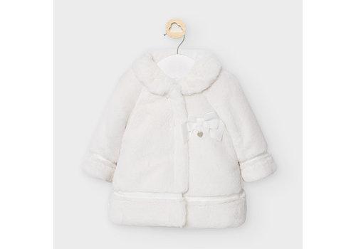 Mayoral faux fur jasje met strik - offwhite