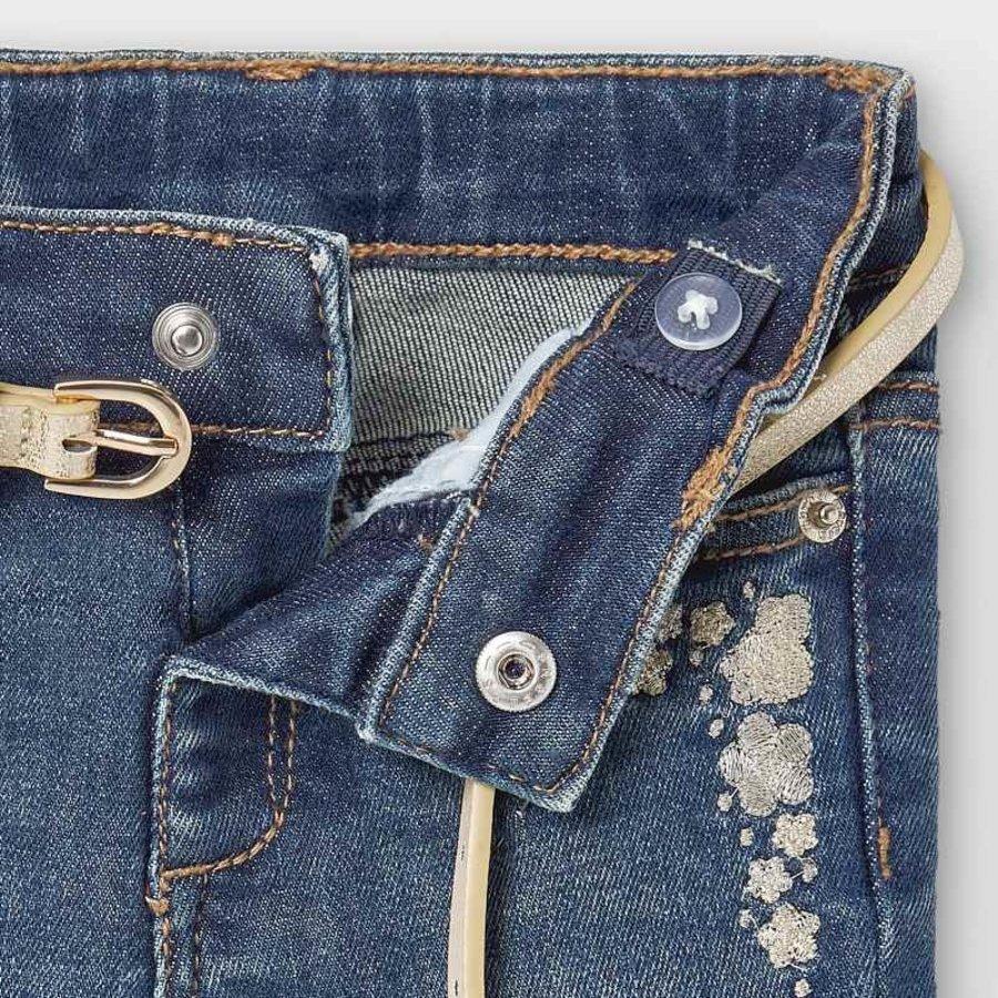 spijkerbroekje met riem - blauw-3