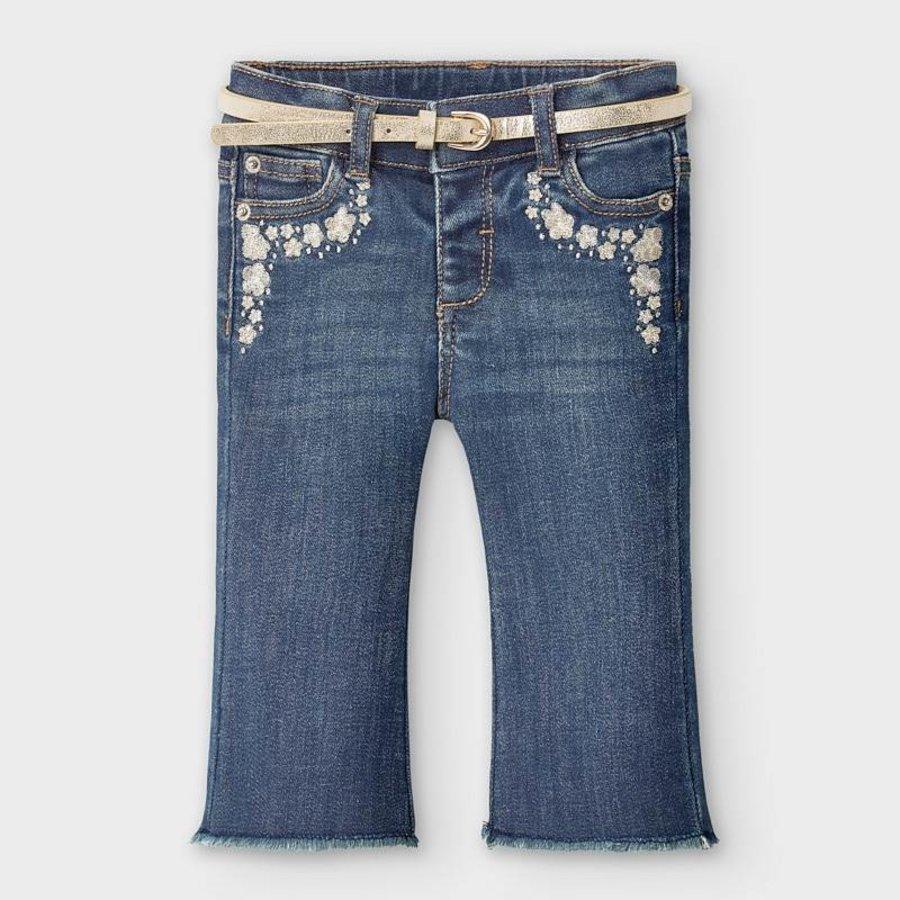spijkerbroekje met riem - blauw-1