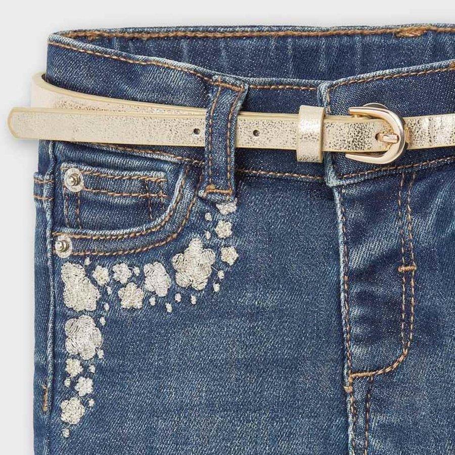 spijkerbroekje met riem - blauw-4