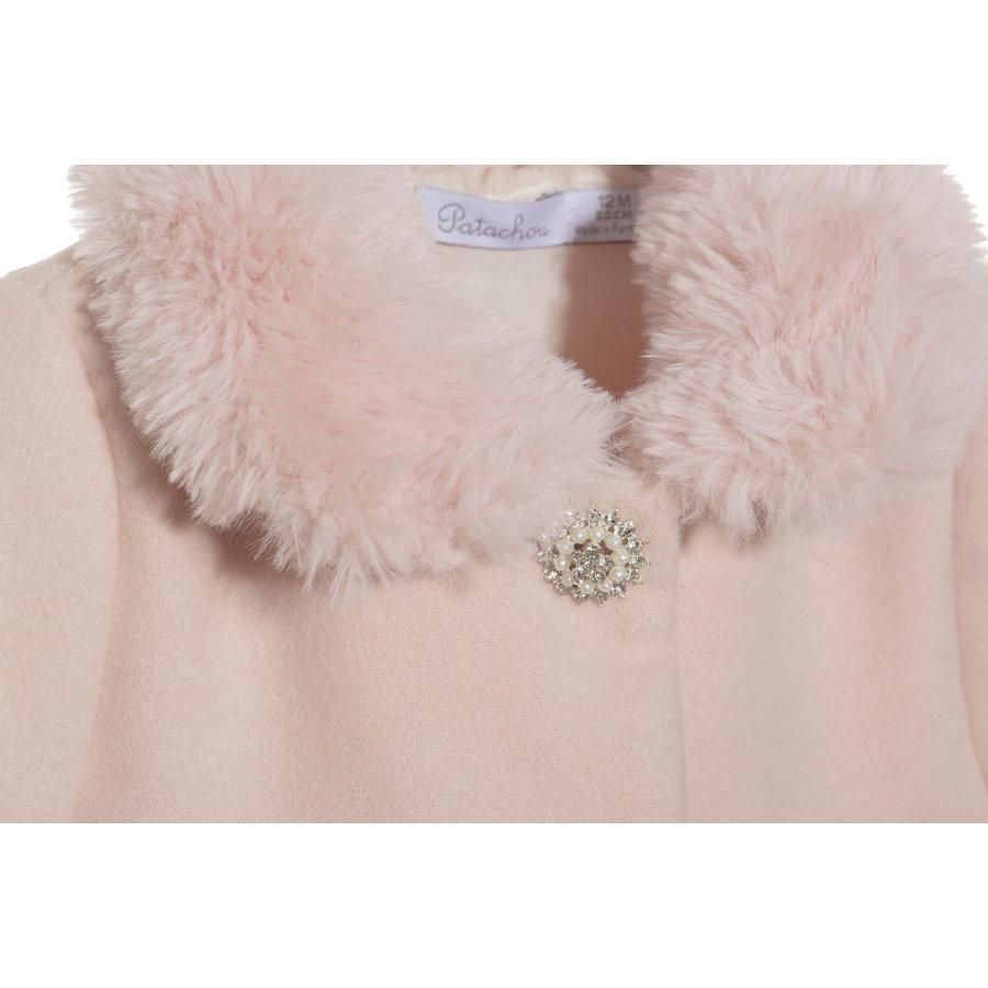 mantel faux fur - roze-4