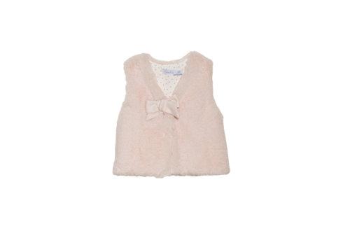 Patachou faux fur vestje met strik - roze