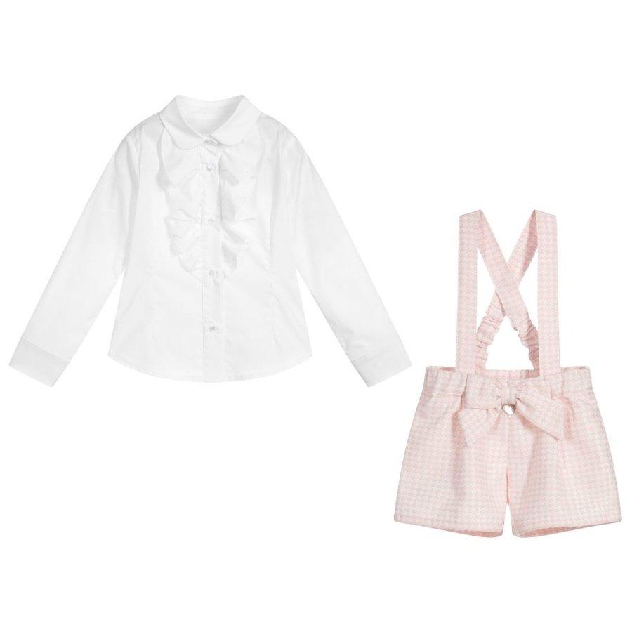 blouse volant met broekje strik - roze-2