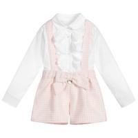 thumb-blouse volant met broekje strik - roze-1