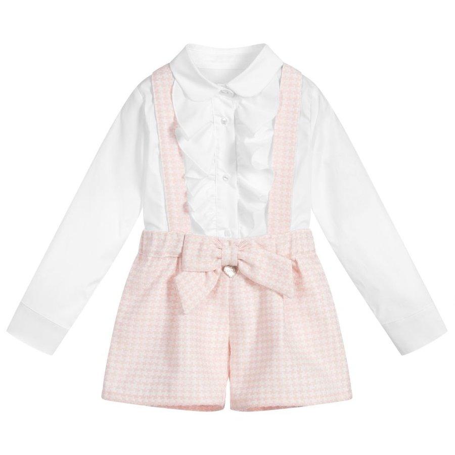 blouse volant met broekje strik - roze-1