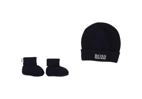 Hugo Boss gebreid mutsje en slofjes - blauw