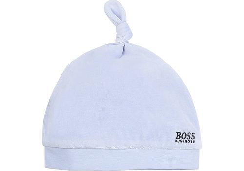Hugo Boss baby mutsje velours - blauw