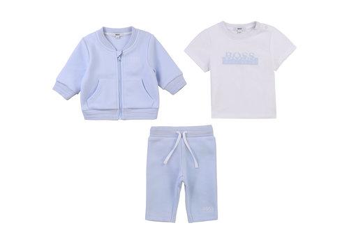 Hugo Boss babyset van joggingbroek, vestje en shirt - blauw