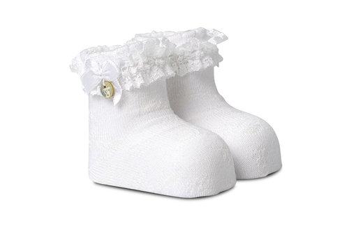 First - My First Collection newborn sokjes met kant & strikje, verpakt in een luxe doosje - wit