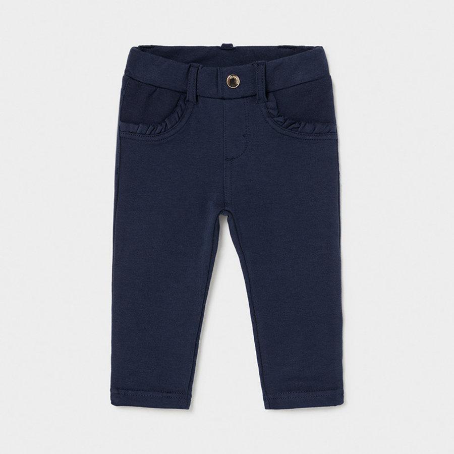 stretch broekje met ruches - blauw-1