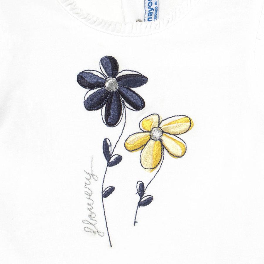 set van broekje en top bloem - blauw-3