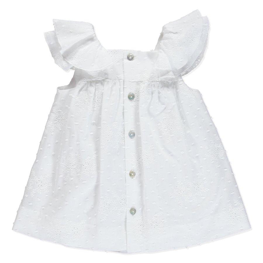jurk van broderie met knopen - wit-2