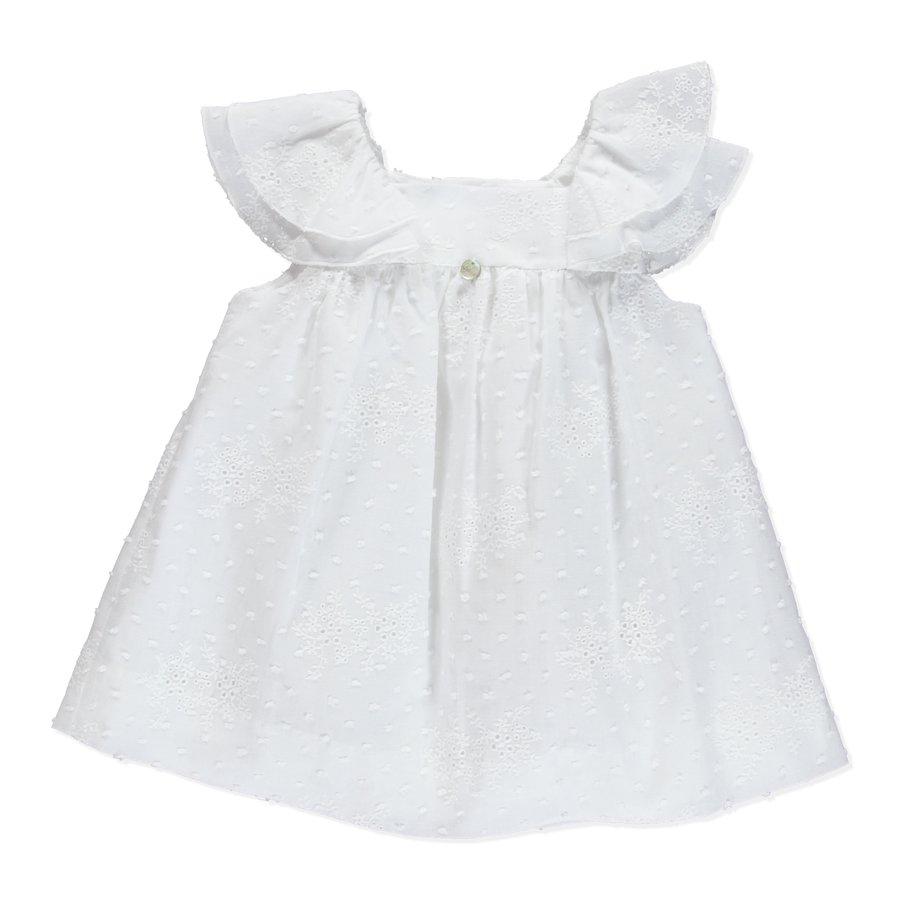 jurk van broderie met knopen - wit-1