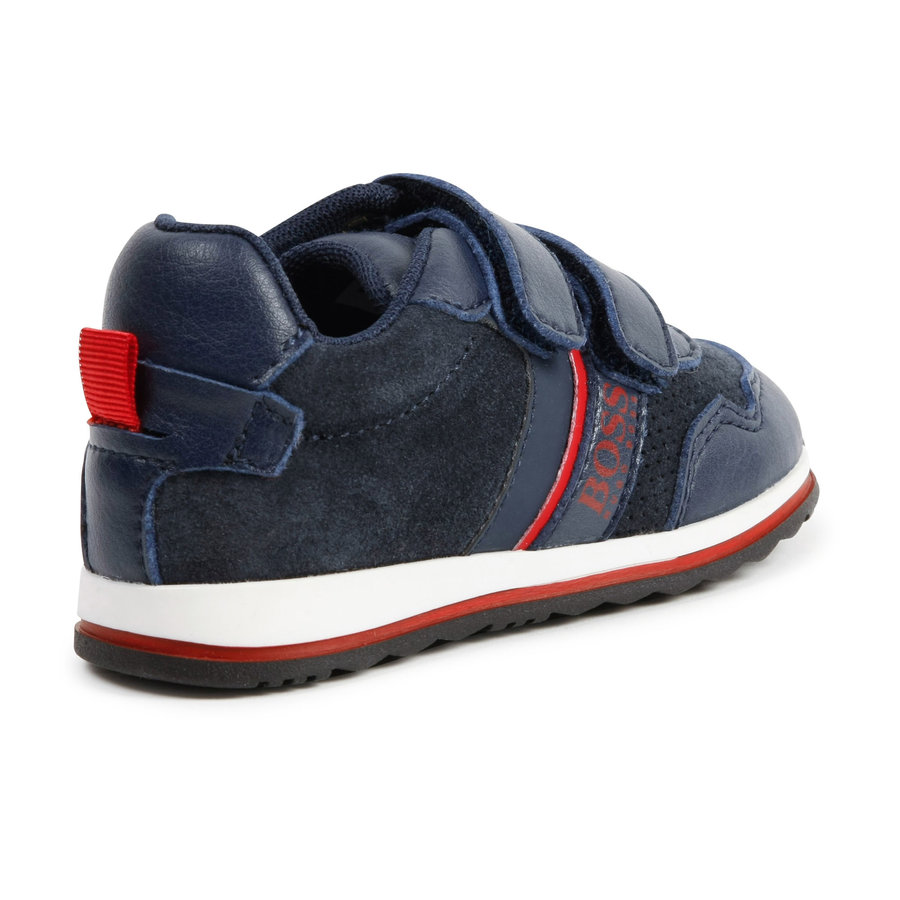 sneaker leer/suede boss - blauw-2