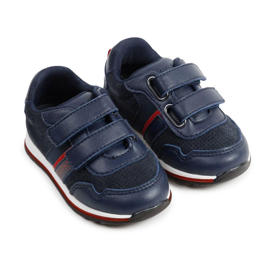 sneaker leer/suede boss - blauw-3