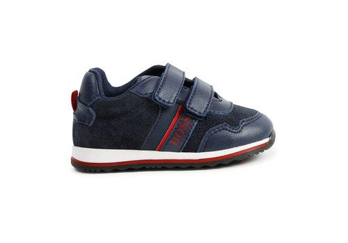 Hugo Boss sneaker leer/suede boss - blauw