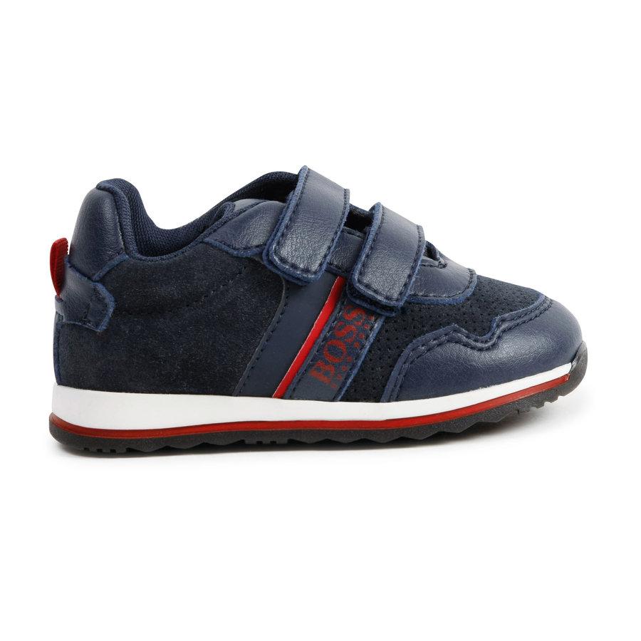 sneaker leer/suede boss - blauw-1