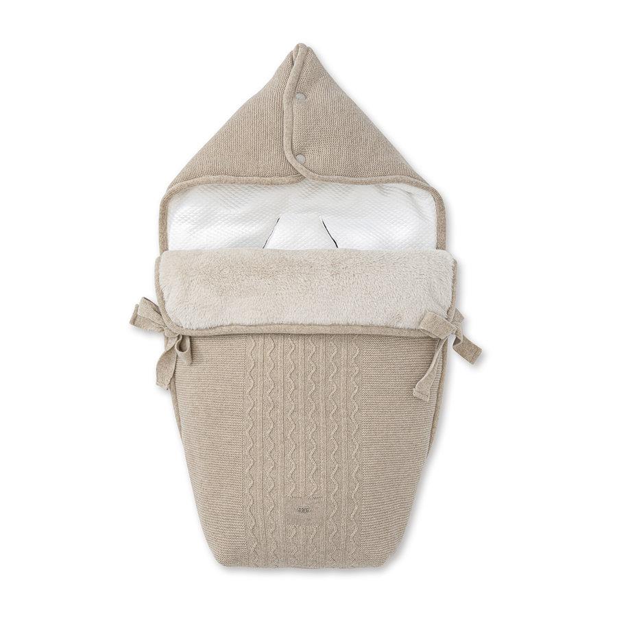 wol & cashmere voetenzak autostoel - Ethnic White-1