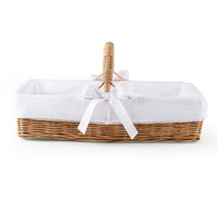 thumb-Cotton White Rieten verzorgingsmand met handvat + bekleding gewafeld-1