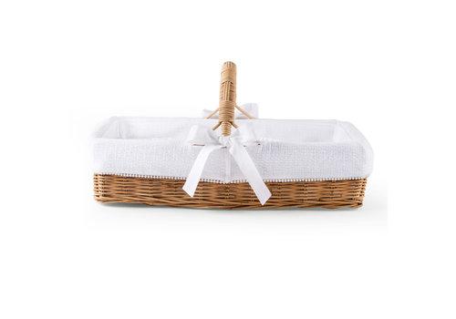 Théophile & Patachou Cotton White Rieten verzorgingsmand met handvat + bekleding gewafeld