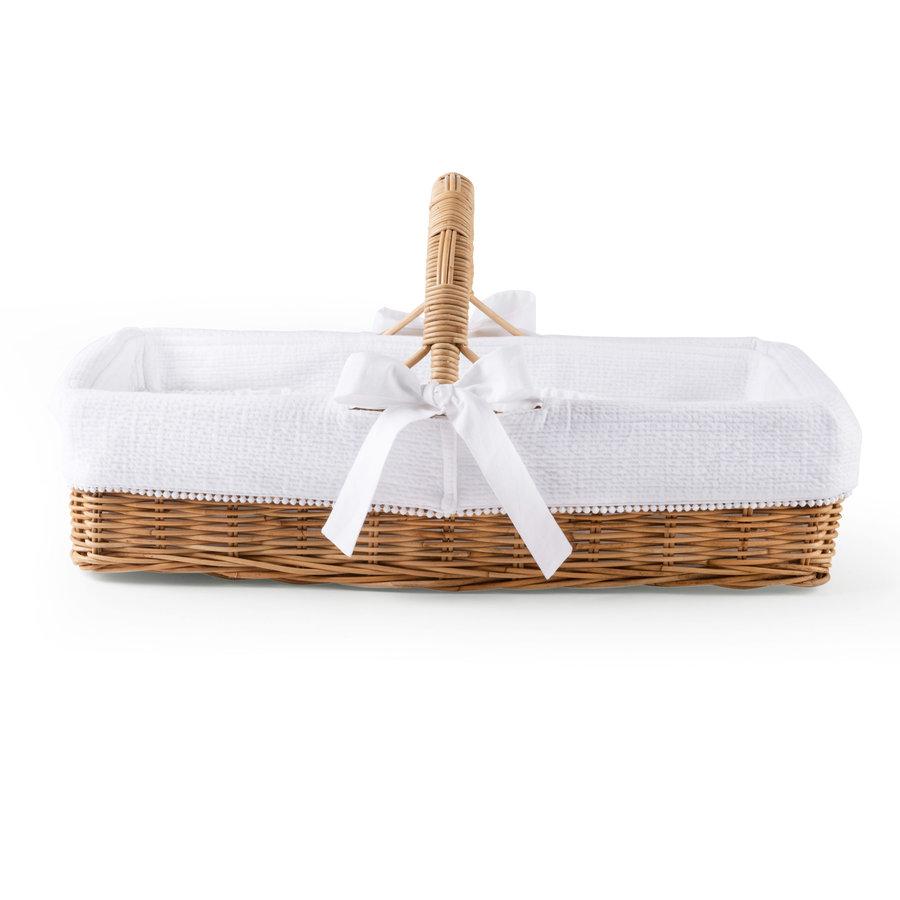 Cotton White Rieten verzorgingsmand met handvat + bekleding gewafeld-1