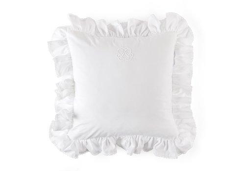 Théophile & Patachou Cotton White kussen volant + borduurwerk - popeline