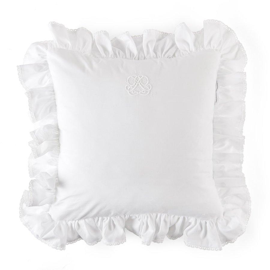 Cotton White kussen volant + borduurwerk - popeline-1
