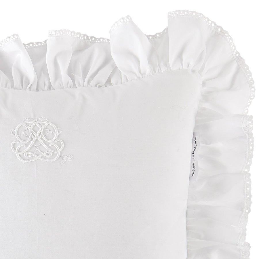 Cotton White kussen volant + borduurwerk - popeline-2