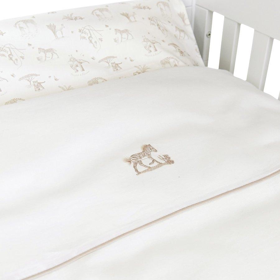 Safari donsovertrek bed 100x135cm  + sloop - wit linnen-2
