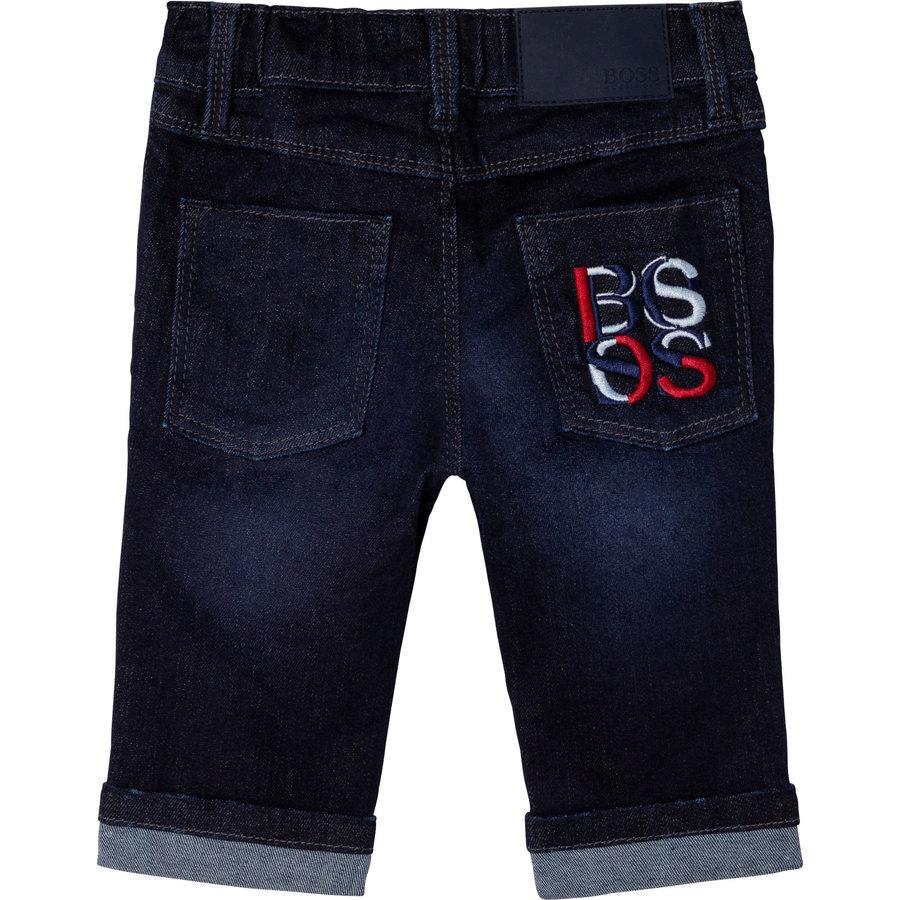 jeans stretch met logo borduring - blauw-1