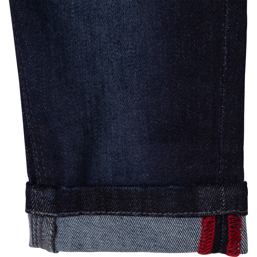 jeans stretch met logo borduring - blauw-3