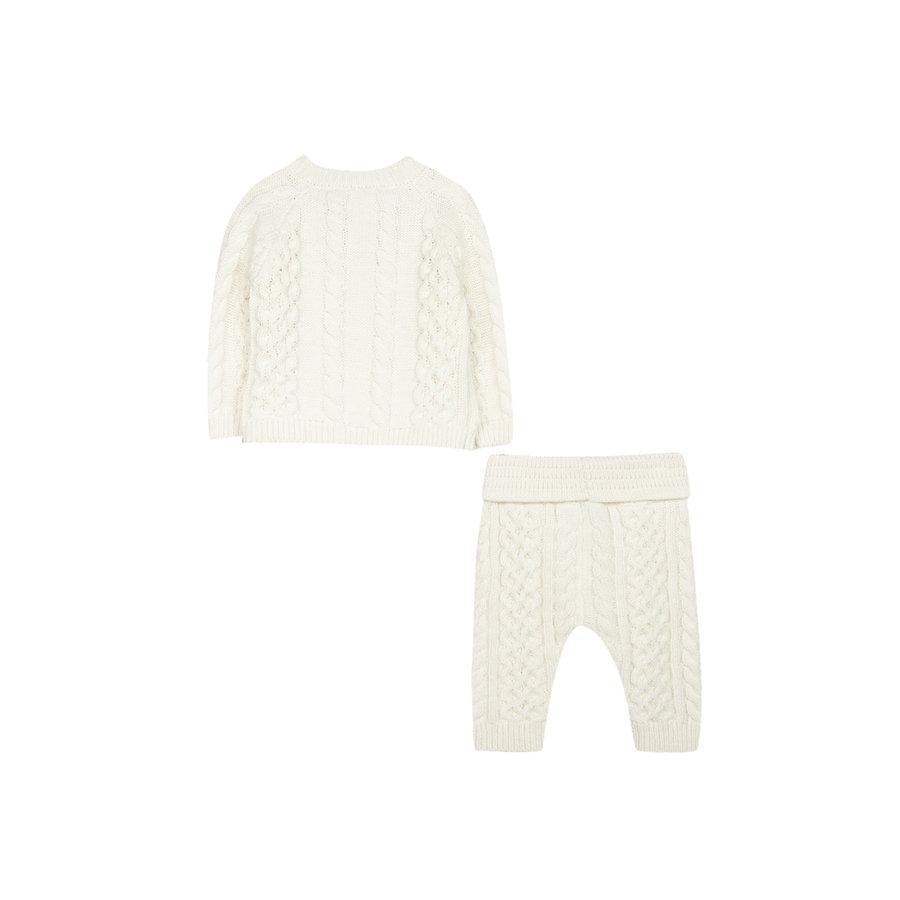 gebreide cashmere set van vest en broek - offwhite-3
