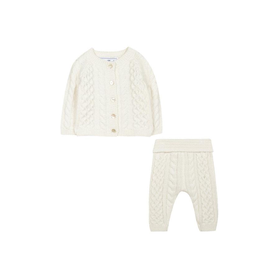 gebreide cashmere set van vest en broek - offwhite-2