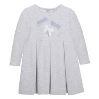 stretch jurkje met strikjes - grijs