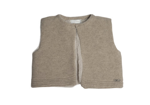 First - My First Collection gilet wol met eco bont - beige