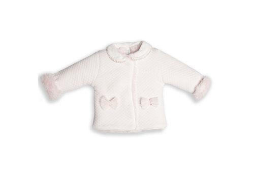 First - My First Collection vestje met eco bont voering en strikjes - roze