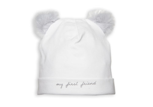 First - My First Collection babymutsje teddy - wit/grijs
